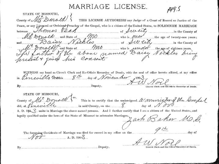 Mcdonald County, Missouri - Marriage Records - 1865-2009